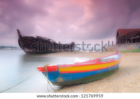 The small boat waits to go out to one day of fishing