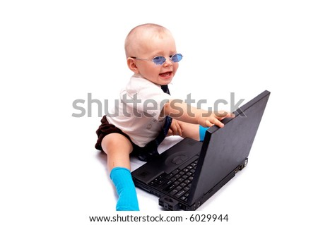 The small businessman works on the computer, on a white background