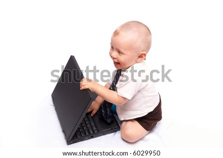 The small businessman works on the computer, on a white background - stock photo