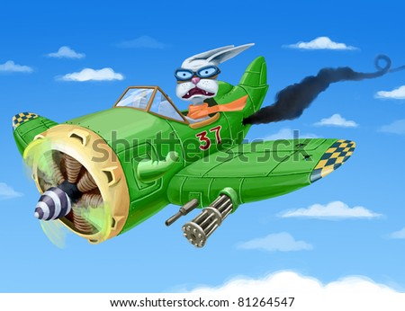 The small cartoon green fighter plane with a rabbit in a cabin is falling down. The pilot is in a panic.