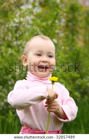 The small child on a clearing with dandelions