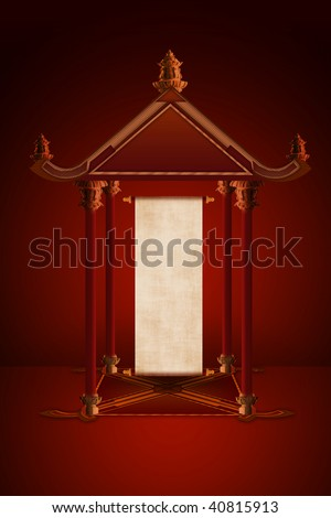 The small Chinese pavilion with antique parchment roll