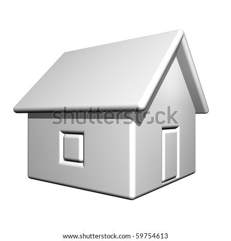 The small one-storeyed white house, 3d, a white background. - stock photo