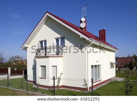 The small sweet standard house for a young family. Mass production.