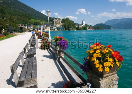 The small tourist town St. Wolfgang on the banks of the Wolfgangsee in Austria