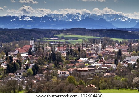 The small town of Ebersberg near Munich, Bavaria, Germany, with view of the alps when southern wind called Foehn blows