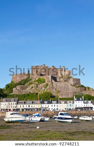 The small town of Gorey with Mont Orgueil Castle, Jersey, UK
