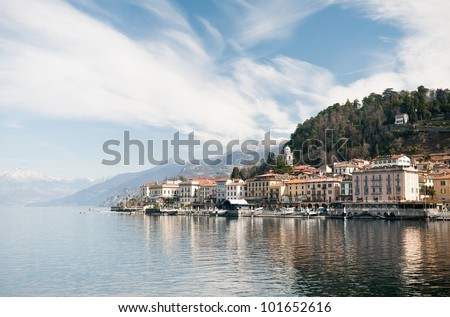 The small village of Bellagio, situated at the shore of Lake Como, Italy.