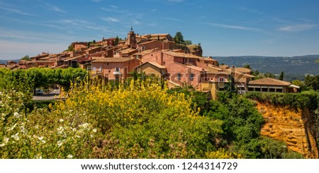 The small village of Roussillon. Landscape with houses in historic ocher village Roussillon, Provence, Luberon, Vaucluse, France