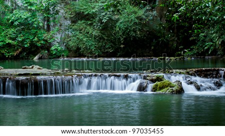 The small waterfall and rocks, Thailand