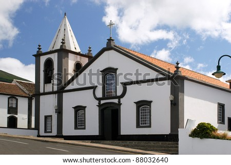 The small white church on Azores