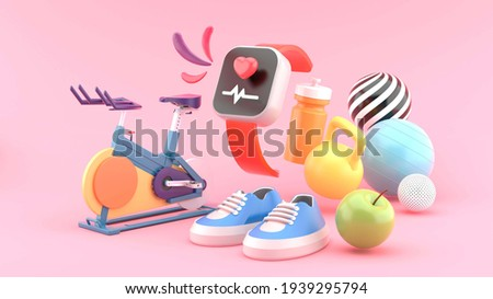 The smart watch is surrounded by fitness bikes, shoes, dumbbells, apples, exercise water bottles and balls on a pink background.-3d rendering.