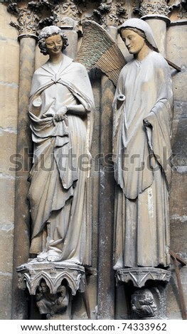 The smiling angel of Reims gothic cathedral, France