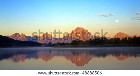 The Snake River and Mt. Moran, at sunrise, in Grand Teton National Park, Wyoming.