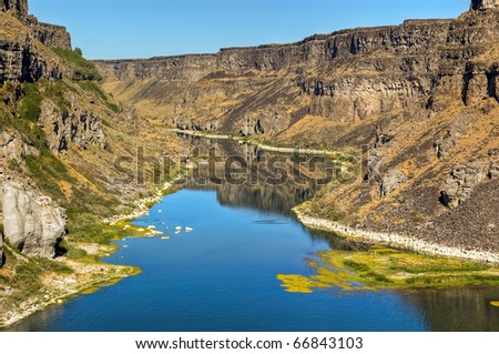 The Snake River has carved a deep canyon in Twin Falls, Idaho.