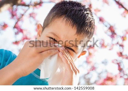 The sneezing little boy with having spring allergy