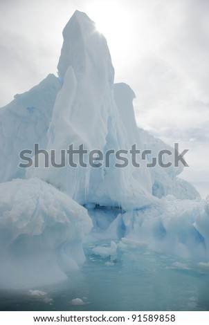 The snow-white iceberg in the Antarctic summer sun background