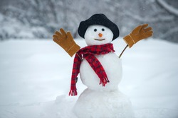 The snowman is wearing a fur hat and scarf. Happy new year. Christmas background with snowman. Happy snowman standing in winter Christmas landscape.