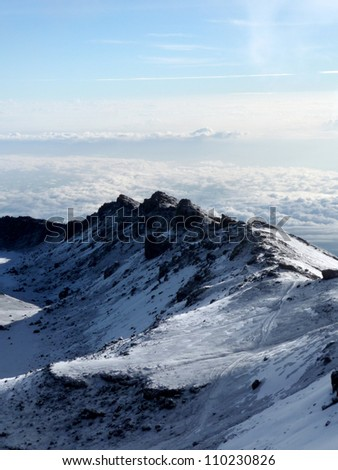 The Snowy Peak of Mt Kilimanjaro in Tanzania, Africa