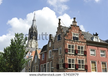 The so called New Church and typical Dutch houses with stepped gables in Delft,Holland