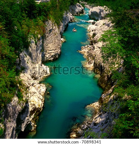 The Soca river, Slovenia - stock photo