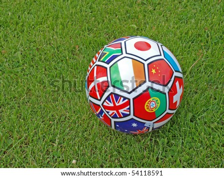 The soccer ball with all country flags