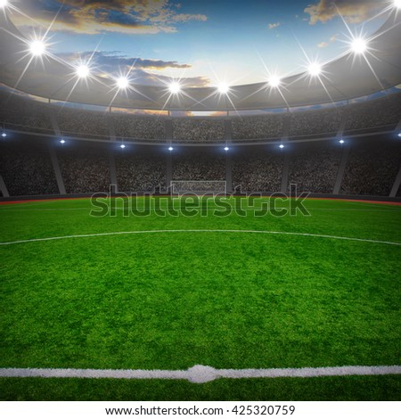 the soccer stadium with the bright lights #425320759