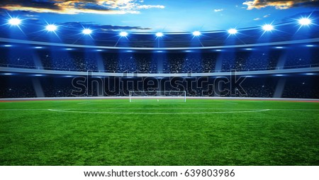 the soccer stadium with the bright lights #639803986