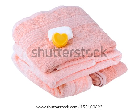 The soft, fluffy towels on a white background