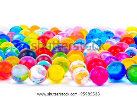 The soil of the colored balls. Photos isolated on white background