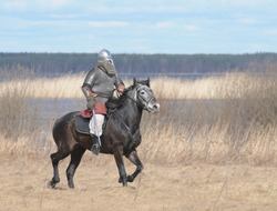 The soldier in a chain armour and a helmet with a sword in a hand skips astride a horse