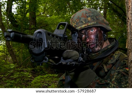 The soldier of the Bundeswehr in the zone of military operations.