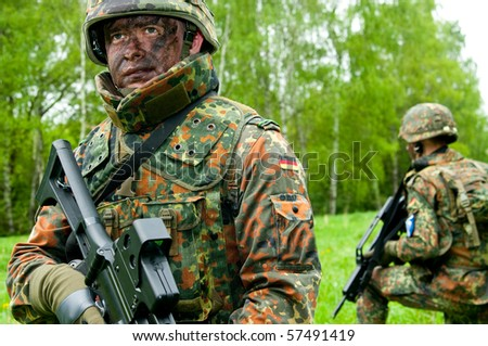 The soldiers of the Bundeswehr in the zone of military operations.