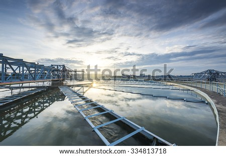 The Solid Contact Clarifier Tank type Sludge Recirculation process in Water Treatment plant with sunrise