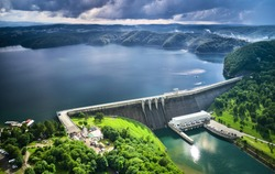 The Solina Dam aerial view, largest dam in Poland located on lake Solinskie. Hydroelectric power plant in Solina of Lesko County in the Bieszczady Mountains area of south-eastern Poland.
