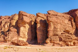 The Solomons Pillars geological and historical place in Timna Park near to Eilat, Israel.