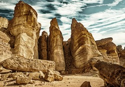 The Solomons Pillars geological attraction in Timna Park near to Eilat, Israel. (HDR image with black gold filter)