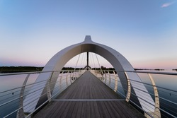 The Solvesborg Bridge is a 760 meter long walk and biking bridge over the Solvesborg Bay Area in Blekinge, Sweden.