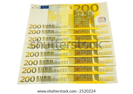 the some euro banknotes with clipping path