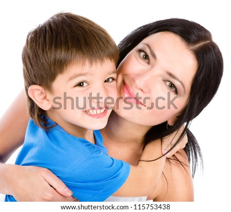 the son embraces mother. isolated on white background