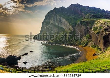 The Songaksan Mountain on Jeju Island in South Korea.