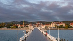 The Sopot Pier and beautiful cityview/cityscape of Sopot, Poland. Early morning. October.