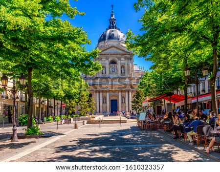 The Sorbonne is an edifice of the Latin Quarter, in Paris, France, which was the historical house of the former University of Paris. Architecture and landmarks of Paris. Postcard of Paris