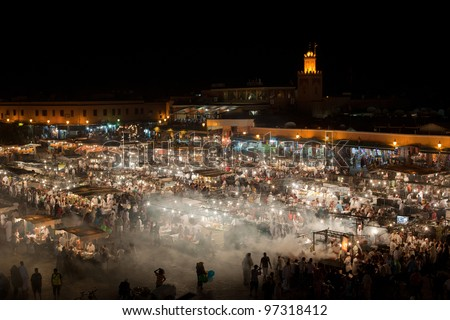 The Souks, Marrakesh, Morocco - stock photo