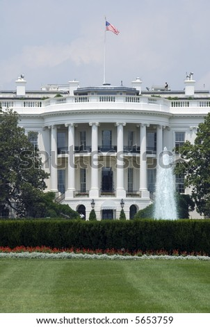 The south face of the White House in Washington on a hot and hazy summer afternoon.