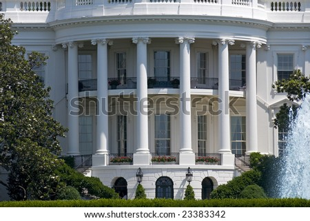 The south face of the White House in Washington on a summer day.