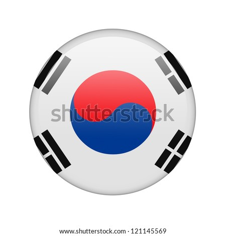 The South Korea flag in the form of a glossy icon.