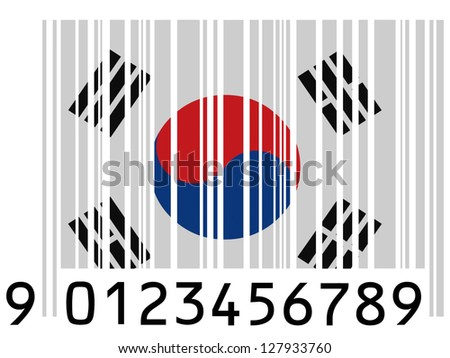 The South Korea flag  painted on barcode surface