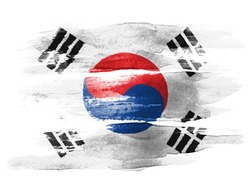 The South Korea flag painted on  white paper with watercolor