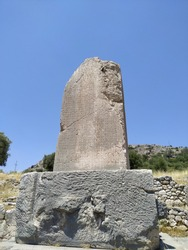 The south side of the Xanthos Obelisk, showing inscriptions in Lycian in Xanthos Ancient City
